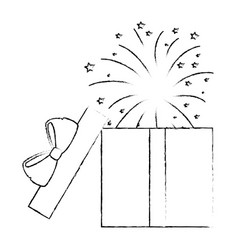 Gift box present with fireworks explosion vector