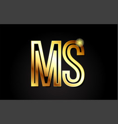 gold alphabet letter ms m s logo combination icon vector image