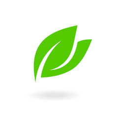 green leaf sign flat leaves icons bio plant vector image