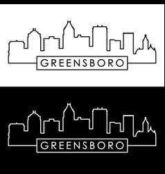 greensboro skyline linear style editable file vector image