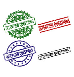 grunge textured interview questions stamp seals vector image