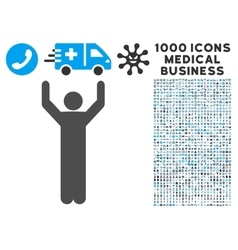 Hands Up Pose Icon with 1000 Medical Business vector image