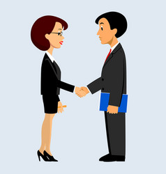 Handshake of business man and woman in flat style vector