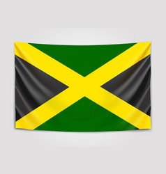 hanging flag of jamaica jamaica national flag vector image