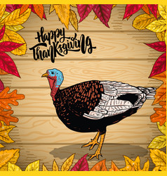 happy thanksgiving border from autumn leaves vector image