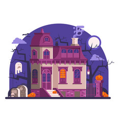 Haunted halloween ghost house scene in flat vector