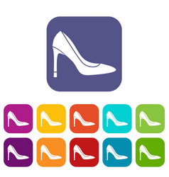 High heel shoe icons set vector