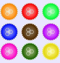 Honeycomb icon sign big set of colorful diverse vector