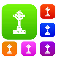 Irish celtic cross set color collection vector