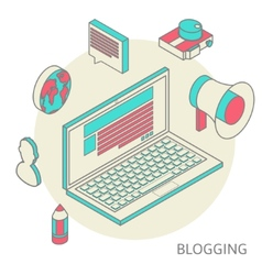 Isometric design modern concept of blogging vector image