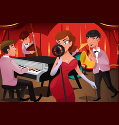 Jazz band with a female singer vector