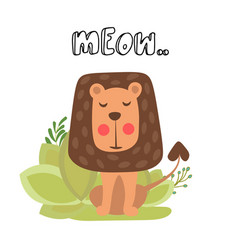 little cute lion cute lion vector image
