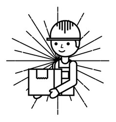 logistic delivery man with cardboard box emblem vector image