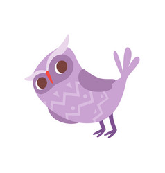 Lovely funny cartoon purple owlet bird character vector