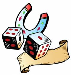 lucky dice with horseshoe tattoo vector image