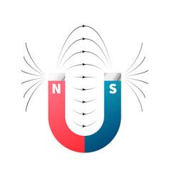 Magnetic fields on horseshoe magnet on white vector