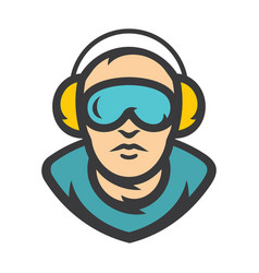 Man with headphones cartoon vector