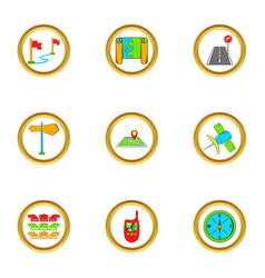 Map icons set cartoon style vector