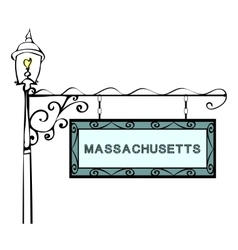 Massachusetts retro pointer lamppost vector