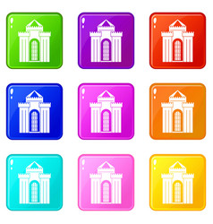 Medieval palace icons 9 set vector