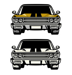 Muscle car classic front side look vector