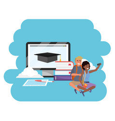 Online education millennial student laptop vector