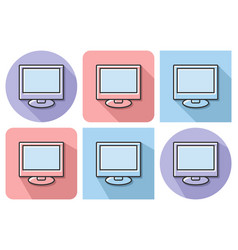 outlined icon of lcd monitor with parallel and vector image