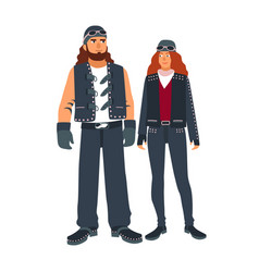 Pair man and woman bikers dressed in black vector