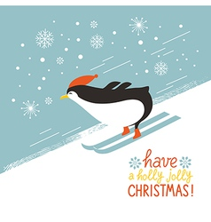 penguin skiing down a mountain slope vector image