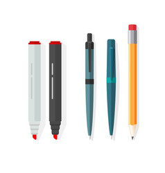 pens pencils markers dot biro pen vector image