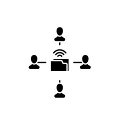 people networking black icon sign on vector image