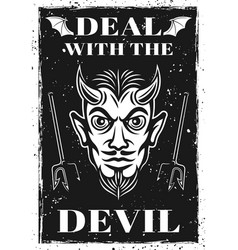 Poster with horned devil head vector