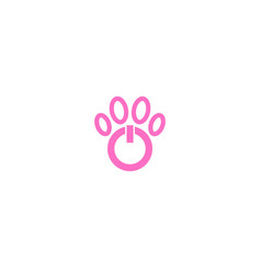 Power button animal footstep logo vector