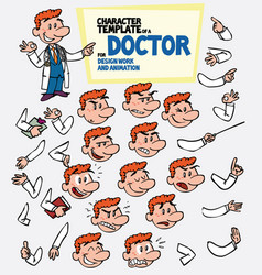 Red-haired doctor face and body elements parts of vector