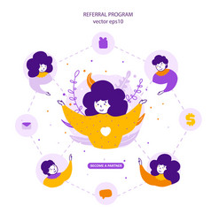 referral program business partners attraction flat vector image