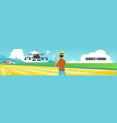 Remote farming banner cute man controls vector