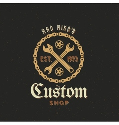 Retro Bicycle Custom Shop Label or Logo vector