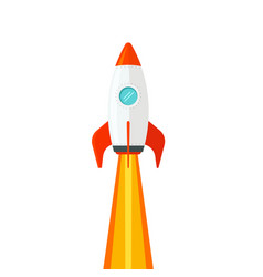 Rocket ship flying isolated on white background vector