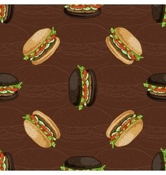 seamless pattern two types burger vector image