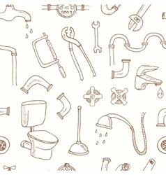 Seamless pattern with Plumbing hand drawn vector image