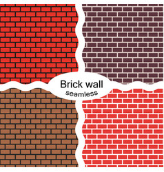 Seamless patterns of red brown brick walls vector