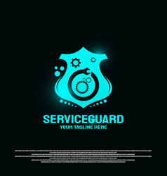 Service shield logo design with gears and compass vector