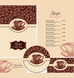 Set design elements for coffee house with hand vector
