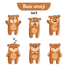 Set of cute bear characters set 5 vector