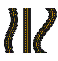 Set of roads with various white and yellow vector