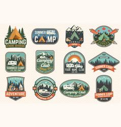 set summer camp badges concept vector image