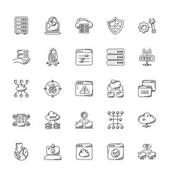 Set web hosting doodles vector