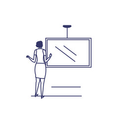 silhouette woman with screen in white vector image