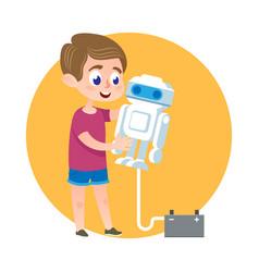 Smart kid making robot catroon vector