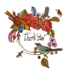Thank You Hand Drawn Greeting Card vector image